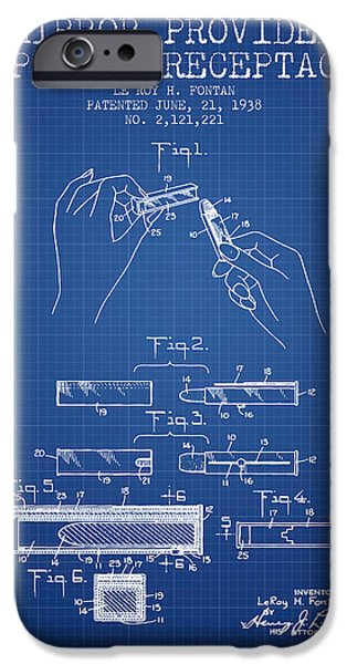 Lipstick iPhone Cases - Lipstick Mirror Patent from 1938 - Blueprint iPhone Case by Aged Pixel
