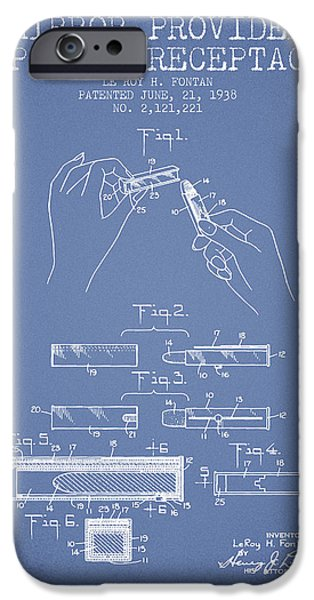 Lipstick iPhone Cases - Lipstick Mirror Patent from 1938 - Light Blue iPhone Case by Aged Pixel