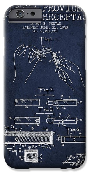 Lipstick iPhone Cases - Lipstick Mirror Patent from 1938 - Navy Blue iPhone Case by Aged Pixel