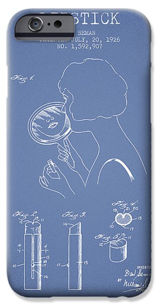 Lipstick iPhone Cases - Lipstick Patent from 1926 - Light Blue iPhone Case by Aged Pixel