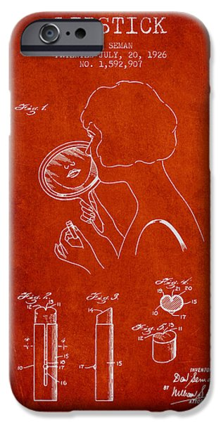 Lipstick iPhone Cases - Lipstick Patent from 1926 - Red iPhone Case by Aged Pixel