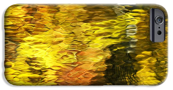 Autumn iPhone Cases - Liquid Gold Abstract Reflection iPhone Case by Christina Rollo