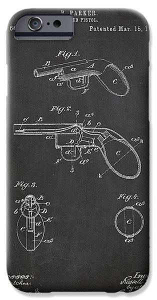 Pistol iPhone Cases - Liquid Pistol Patent iPhone Case by Aged Pixel