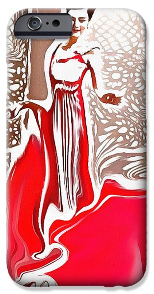 Catherine White Digital Art iPhone Cases - Liquid Red iPhone Case by Catherine Lott