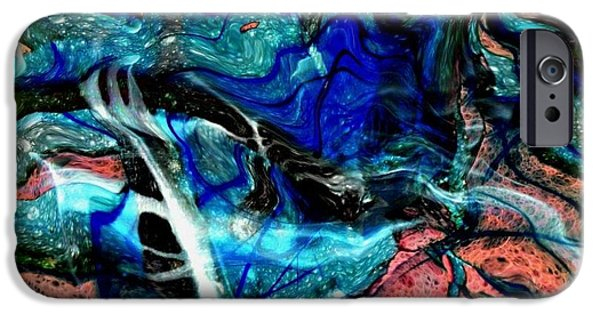 Abstract Digital Drawings iPhone Cases - Liquidity iPhone Case by David Neace