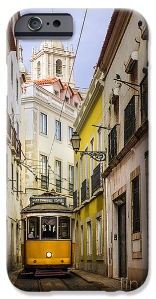 Portuguese iPhone Cases - Lisbon Tram iPhone Case by Carlos Caetano
