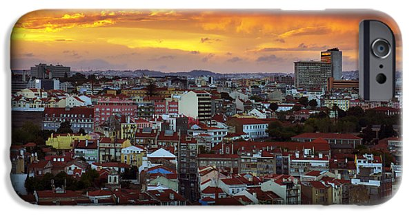 Portuguese iPhone Cases - Lisbon at Sunset iPhone Case by Carlos Caetano