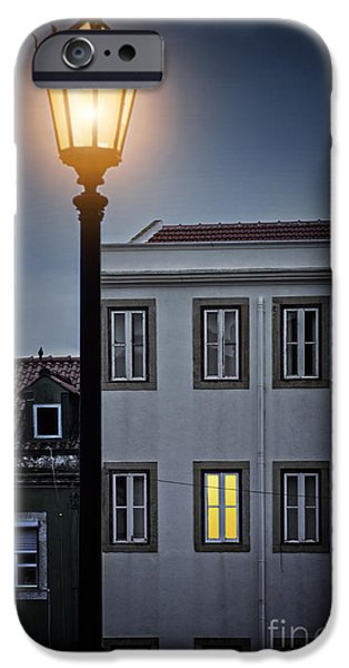 Balcony iPhone Cases - Lisbon Street Lamp iPhone Case by Carlos Caetano