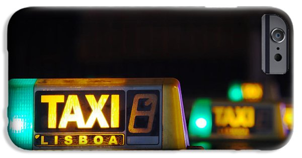 Business Photographs iPhone Cases - Lisbon Taxi Sign iPhone Case by Carlos Caetano