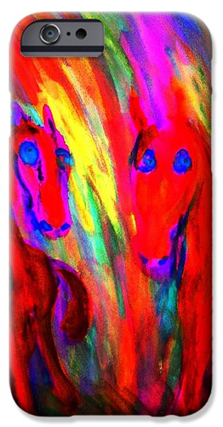 Sweating Paintings iPhone Cases - Listen To The Dragon News iPhone Case by Hilde Widerberg