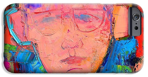 Red Abstract iPhone Cases - Listening - Abstract Expressionist Portrait iPhone Case by Ana Maria Edulescu