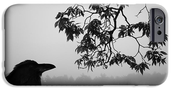 Monochromatic Digital Art iPhone Cases - Listening to the Leaves iPhone Case by David Gordon