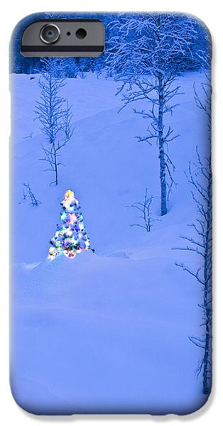 Snowy Night iPhone Cases - Lit Christmas Tree At Twilight iPhone Case by Kevin Smith