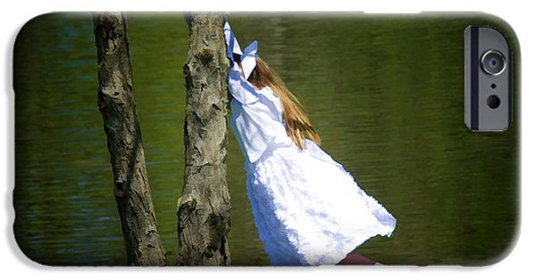Tomboy iPhone Cases - Litte Girl Swinging in White Dress iPhone Case by Donna Doherty