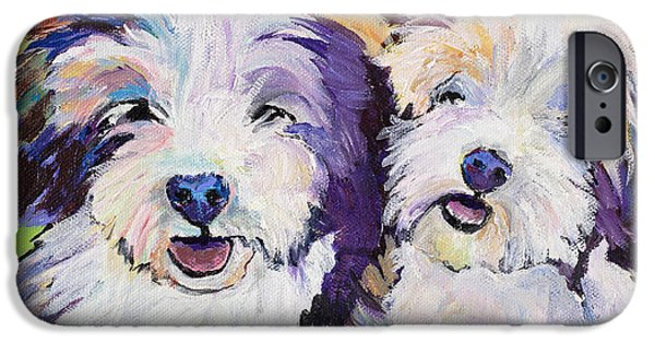 Puppy Iphone Case iPhone Cases - Litter Mates iPhone Case by Pat Saunders-White