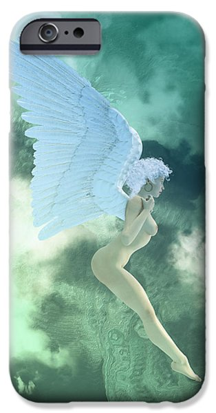 Seraphim Angel Digital Art iPhone Cases - Little Angel Blue  iPhone Case by Joaquin Abella