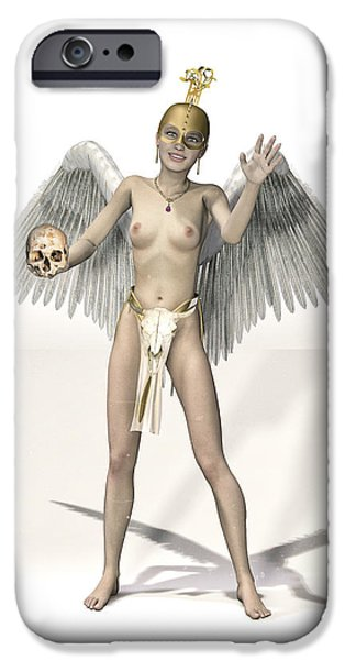 Seraphim Angel Digital Art iPhone Cases - Little Angel Masked iPhone Case by Joaquin Abella