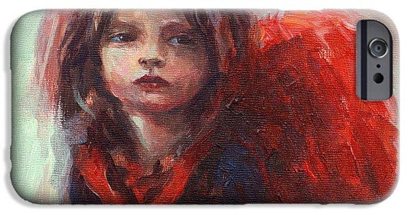 Vibrant Colors Drawings iPhone Cases - Little angel iPhone Case by Svetlana Novikova