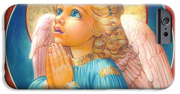 Angel Blues iPhone Cases - Little Angel iPhone Case by Zorina Baldescu