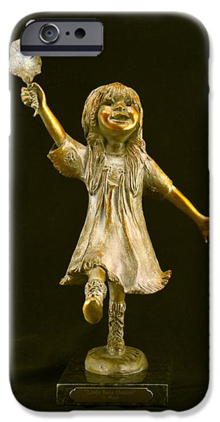 Native Sculptures iPhone Cases - Little Bear Dancer iPhone Case by Barb Maul