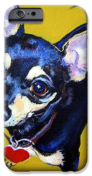 Chiwawa iPhone Cases - Little Bitty Chihuahua iPhone Case by Rebecca Korpita