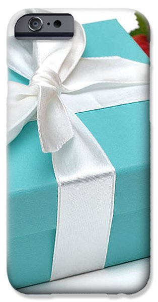 Little Blue Gift Box and Flowers iPhone Case by Amy Cicconi