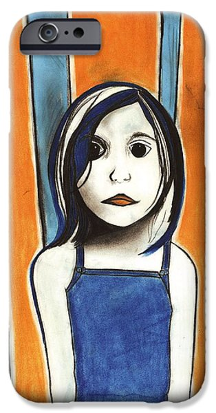 Creepy Pastels iPhone Cases - Little Blue Girl iPhone Case by Anna Kaszupski