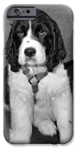 Puppy Digital Art iPhone Cases - Little Boy Blue oil bw iPhone Case by Steve Harrington