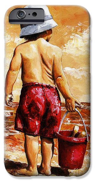 Little Boy iPhone Cases - Little Boy on the Beach II iPhone Case by Emerico Imre Toth
