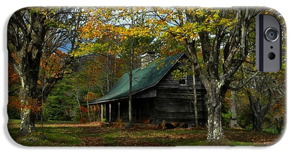 Log Cabin Photographs iPhone Cases - Little Cabin in the Woods iPhone Case by Benanne Stiens
