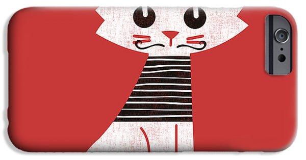 Kitten iPhone Cases - Little cat in paris iPhone Case by Budi Kwan