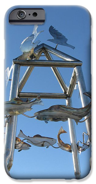 Stainless Steel Sculptures iPhone Cases - Little Chico Creek Sculpture Close iPhone Case by Peter Piatt