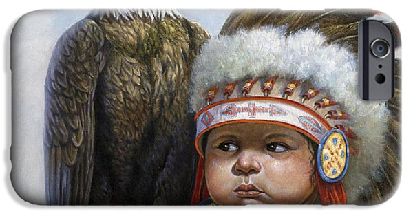 Western Art Digital Art iPhone Cases - Little Chief iPhone Case by Gregory Perillo