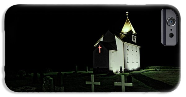 Headstones iPhone Cases - Little Church at Night iPhone Case by Jasna Buncic