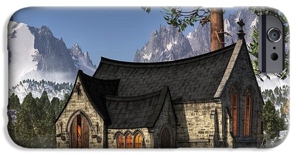 Christian Art iPhone Cases - Little Church in the Snow iPhone Case by Christian Art