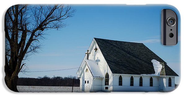 Little iPhone Cases - Little Church On The Prairie iPhone Case by Luther   Fine Art
