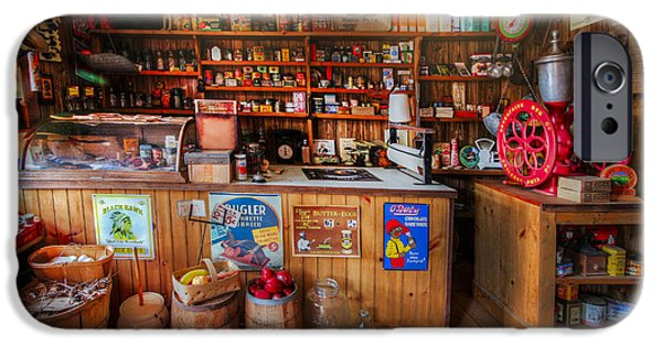 Old Grinders iPhone Cases - Little Country Grocery  iPhone Case by Debra and Dave Vanderlaan