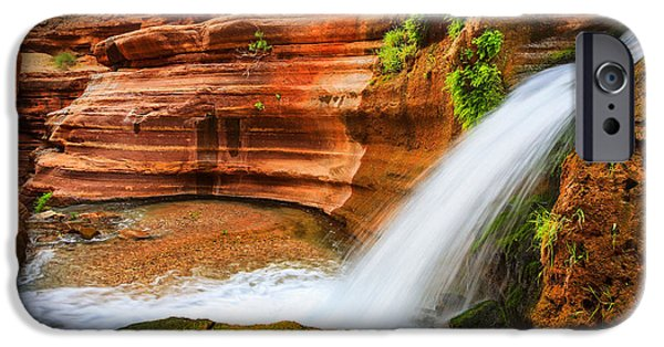 Slickrock iPhone Cases - Little Deer Creek Fall iPhone Case by Inge Johnsson