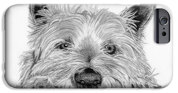 Close Up Drawings iPhone Cases - Little Dog iPhone Case by Sarah Batalka