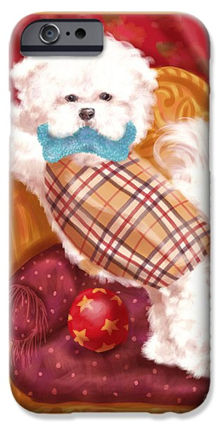 Dog iPhone Cases - Little Dogs - Bichon Frise iPhone Case by Shari Warren