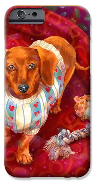 Dog iPhone Cases - Little Dogs - Dachshund iPhone Case by Shari Warren