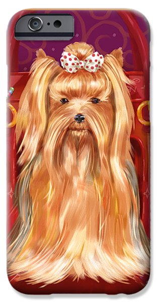 Dog Mixed Media iPhone Cases - Little Dogs - Yorkshire Terrier iPhone Case by Shari Warren