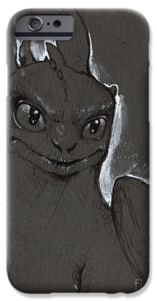 Fury Drawings iPhone Cases - Little Dragon iPhone Case by Angel  Tarantella