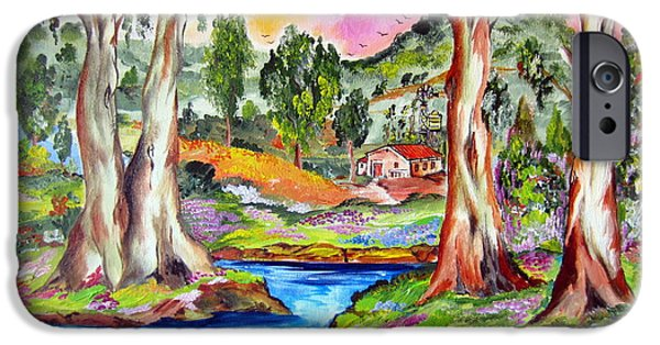 Roberto Paintings iPhone Cases - Little Farm In The Outback By The Water Pond iPhone Case by Roberto Gagliardi
