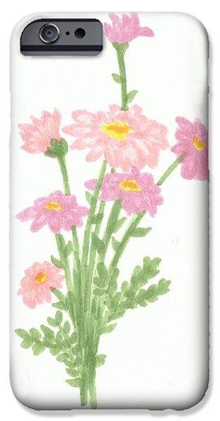 Flora Drawings iPhone Cases - Little Flowers iPhone Case by Margaretha Yvs Mynk