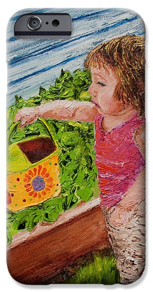 Innocence iPhone Cases - Little Garden Helper iPhone Case by Cynthia Christine