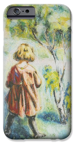 Crayons Drawings iPhone Cases - Little Girl iPhone Case by Askel Johannessen