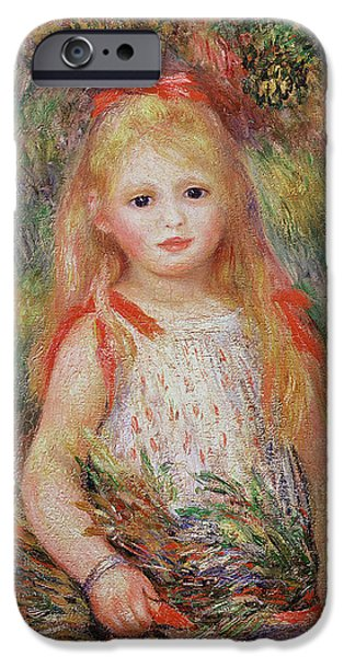 Child iPhone Cases - Little Girl Carrying Flowers iPhone Case by Pierre Auguste Renoir