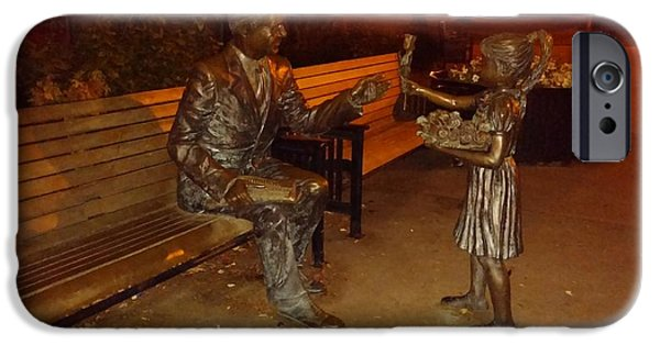 Little Sculptures iPhone Cases - Little Girl Gives Rose To Old Man in Bronze iPhone Case by Melissa Coffield