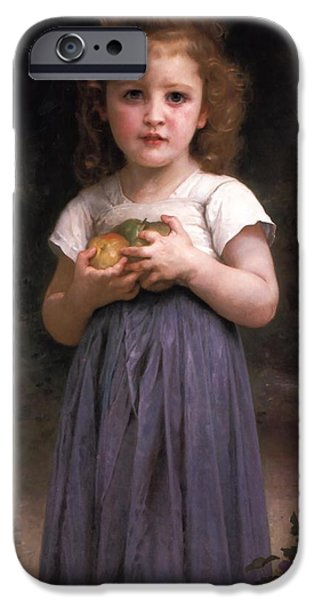 Little Girl iPhone Cases - Little girl holding apples in her hands iPhone Case by William Bouguereau